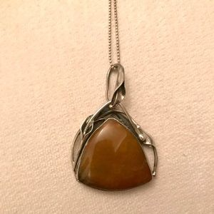Vintage Caramel Stone on Sterling Silver chain
